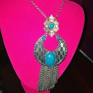 turquoise and silver pendant Bohemian tribal